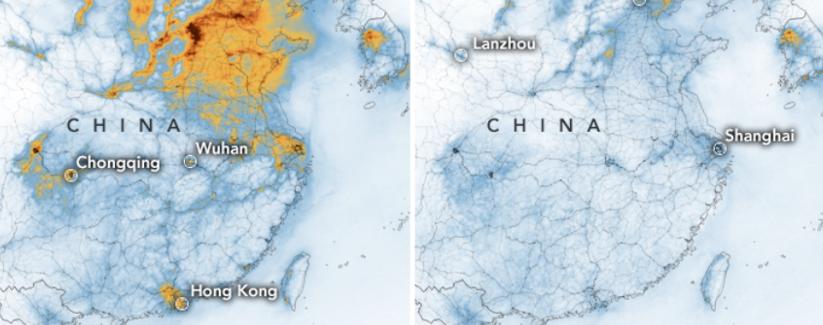 Imagens da NASA mostram redução drástica da poluição na China com a crise do coronavírus